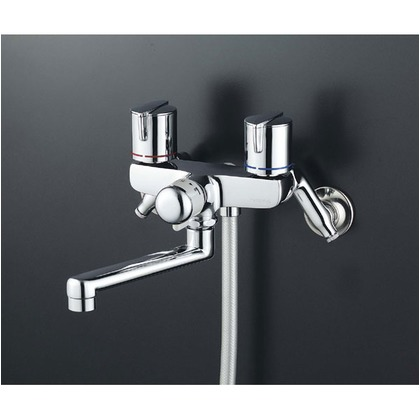 KVK 一時止水付2ハンドルシャワー(フルメタルヘッド・メタリックホース)(寒冷地用) KF141GWMB 混合水栓