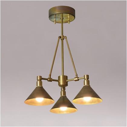 シバタ照明 インダストリアルライト 真鍮生地3灯ペンダントライト 照明プレート 1台