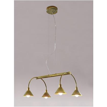 シバタ照明 インダストリアルライト 真鍮生地4灯ワイヤー吊ペンダントライト 照明プレート 1台