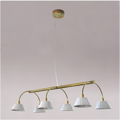 シバタ照明 インダストリアルライト 真鍮生地6灯ワイヤー吊ペンダントライト 照明プレート 1台