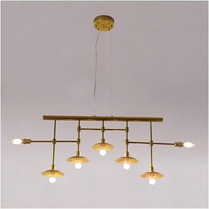 シバタ照明 インダストリアルライト 真鍮生地7灯ワイヤー吊ペンダントライト 照明プレート 1台