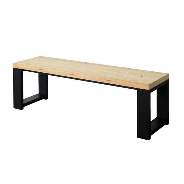 DIY FACTORY Bench 天板:クリア塗装 / 脚:ブラック W1200 D400 H430 1セット
