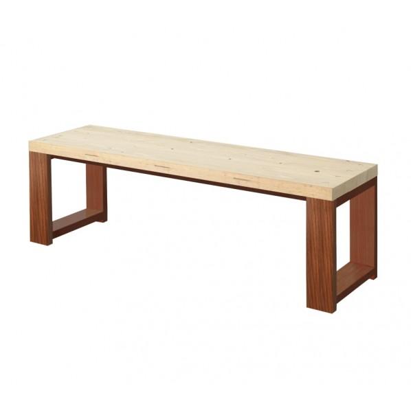 DIY FACTORY Bench 天板:無塗装 / 脚:ブラウン W1100 D400 H430 1セット