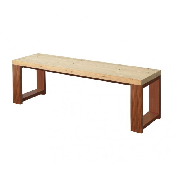 DIY FACTORY Bench 天板:クリア塗装 / 脚:ブラウン W700 D400 H430 1セット