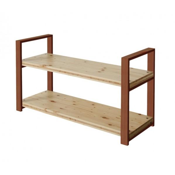 DIY FACTORY Wooden Shelf 天板:クリア塗装 / 脚:ブラウン W1100 D400 H658 1セット