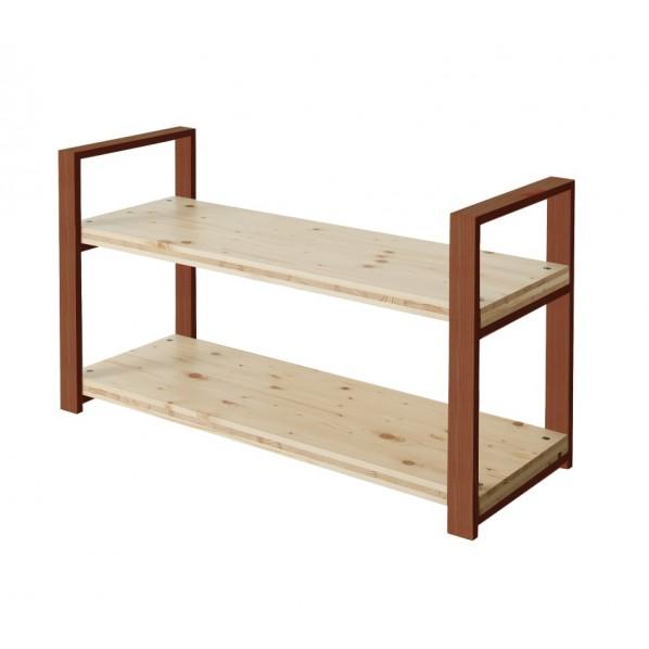 DIY FACTORY Wooden Shelf 天板:無塗装 / 脚:ブラウン W1000 D400 H658 1セット