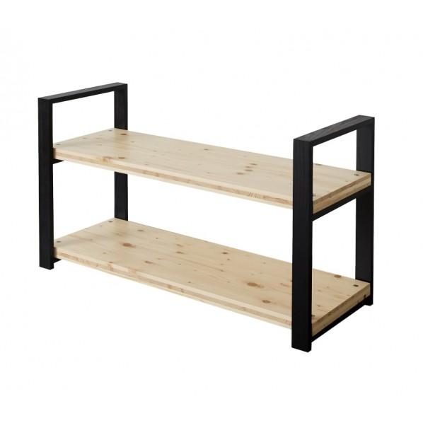 DIY FACTORY Wooden Shelf 天板:無塗装 / 脚:ブラック W1000 D400 H658 1セット