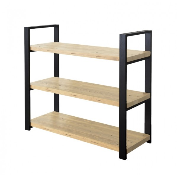 DIY FACTORY Wooden Shelf 天板:クリア塗装 / 脚:ブラック W1100 D400 H1043 1セット