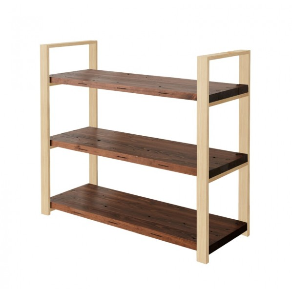 DIY FACTORY Wooden Shelf 天板:ブラウン / 脚:クリア塗装 W1100 D400 H1043 1セット