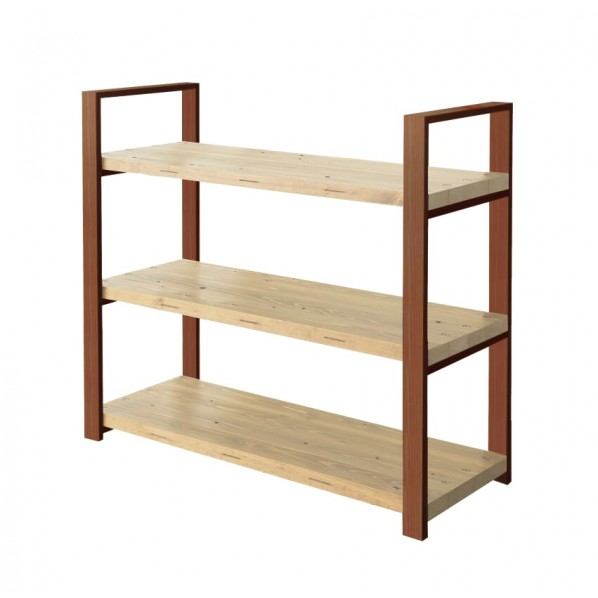DIY FACTORY Wooden Shelf 天板:クリア塗装 / 脚:ブラウン W1000 D400 H1043 1セット