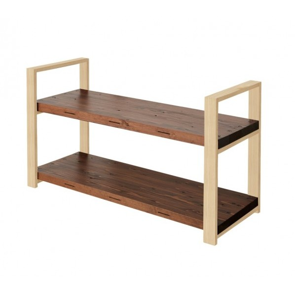 DIY FACTORY Wooden Shelf Low 天板:ブラウン / 脚:クリア塗装 W1200 D400 H658 EKSS3A20407 1セット