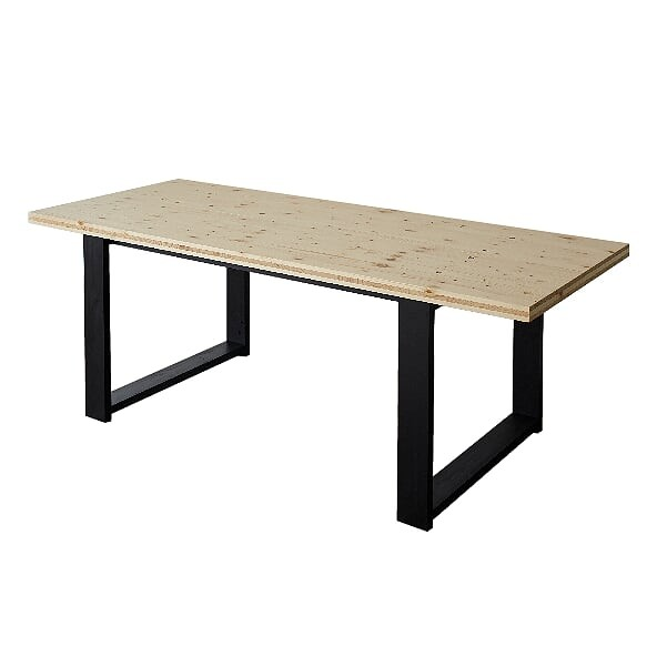 DIY FACTORY Wooden Table 天板:無塗装 / 脚:ブラック W2000 D800 H700 EKTT1S42080 1セット