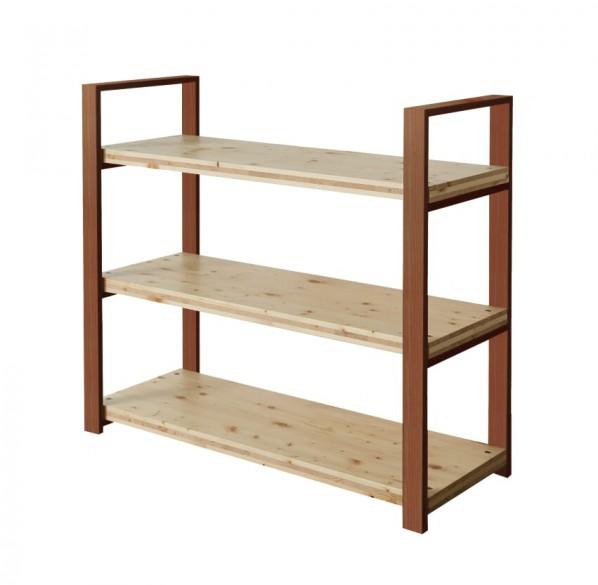DIY FACTORY Wooden Shelf Middle 天板:クリア塗装 / 脚:ブラウン W1200 D400 H1043 EKST2A30410 1セット