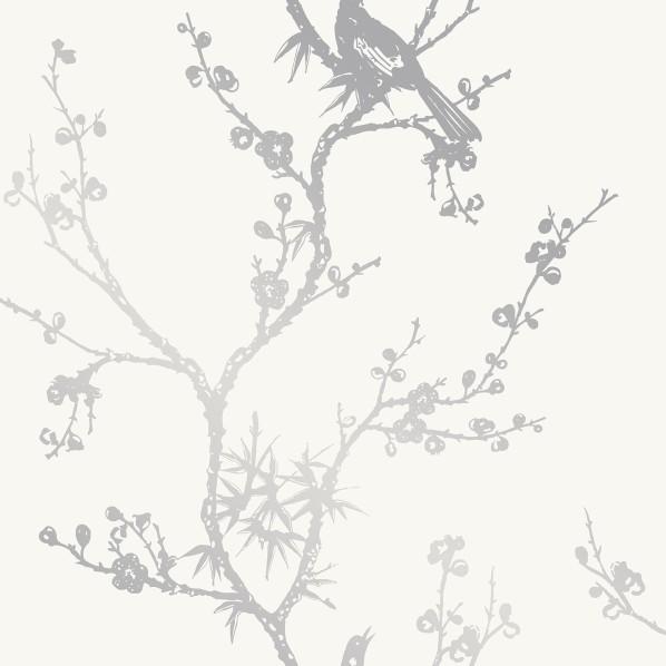 テンペーパー TEMPAPER 貼ってはがせる壁紙シール バード ウォッチング ホワイト&シルバー 幅:68.5cm 長さ:8.2m CR449 1本