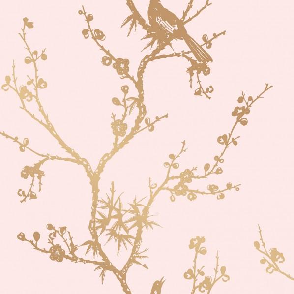 テンペーパー TEMPAPER 貼ってはがせる壁紙シール バード ウォッチング ローズピンク&ゴールド 幅:68.5cm 長さ:8.2m CR450 1本