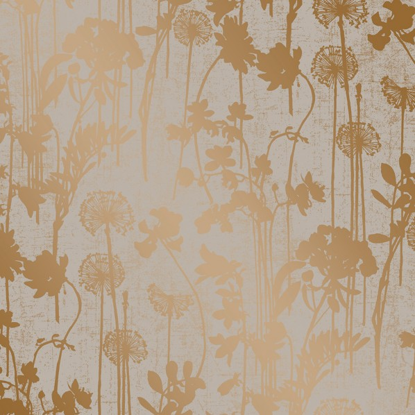 テンペーパー TEMPAPER 貼ってはがせる壁紙シール ディスツレスト フローラル グレー&メタリック コパー  幅:68.5cm 長さ:8.2m DI532 1本