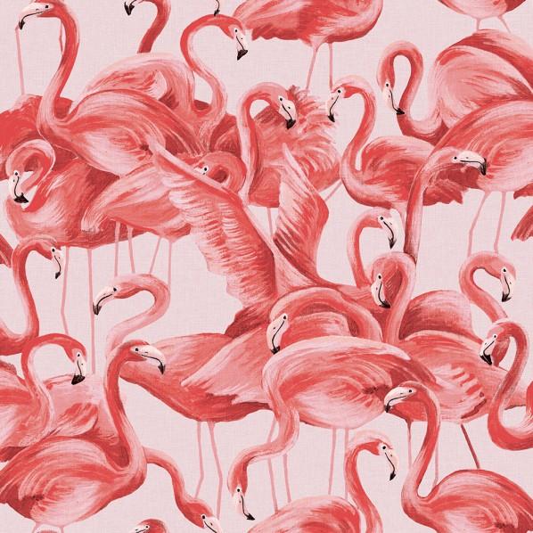 テンペーパー TEMPAPER 貼ってはがせる壁紙シール フラミンゴ チーキー ピンク 幅:52cm 長さ:10m FL538 1本