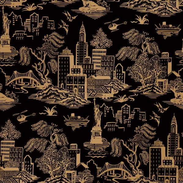 テンペーパー TEMPAPER 貼ってはがせる壁紙シール ニューヨーク トアル ブラック & メタリック ゴールド 幅:68.5cm 長さ:8.2m GO486 1本