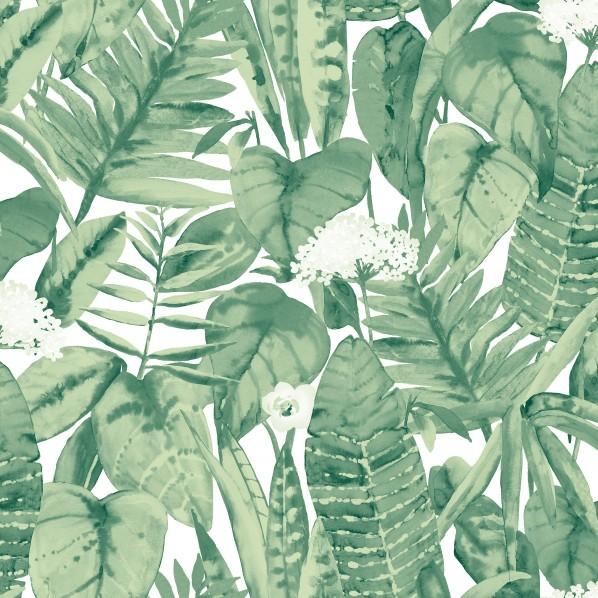 テンペーパー TEMPAPER 貼ってはがせる壁紙シール トロピカル ジャングルグリーン 幅:52cm 長さ:10m TR529 1本