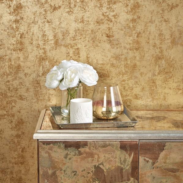 テンペーパー TEMPAPER 貼ってはがせる壁紙シール ディスツレスト ゴールド 幅:52cm 長さ:10m DI543 1本
