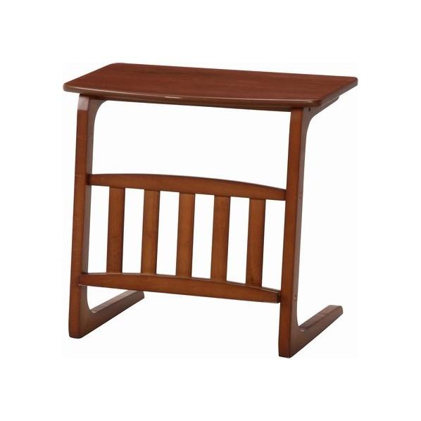 フジボウエキ サイドテーブルノルン マガジンラック付き ミディアムブラウン 便利グッズ(文具・OA機器) 96553 Table-16-5534  1台