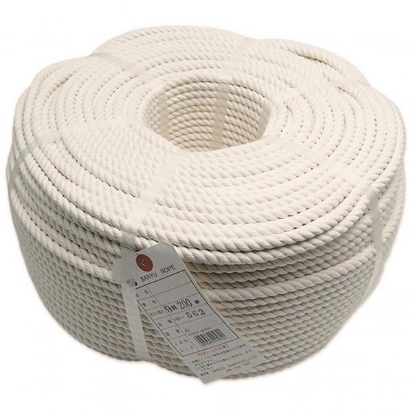 三友産業 綿ロープ 長さ:200m太さ:9mm HR-562 1個
