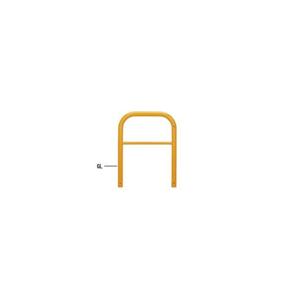 帝金バリカー 帝金バリカー 横型 φ60.5 スチール製 固定式 横桟付 黄色 φ60.5 W70 H65 82-A3 1本