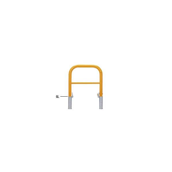 帝金バリカー 帝金バリカー 横型 φ60.5 スチール製 脱着式鍵付 横桟付 黄色 φ60.5 W70 H65 82-PK3 1本