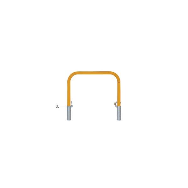 帝金バリカー 帝金バリカー 横型 φ60.5 スチール製 脱着式鍵付 横桟無 黄色 φ60.5 W100 H65 82PK-10 1本