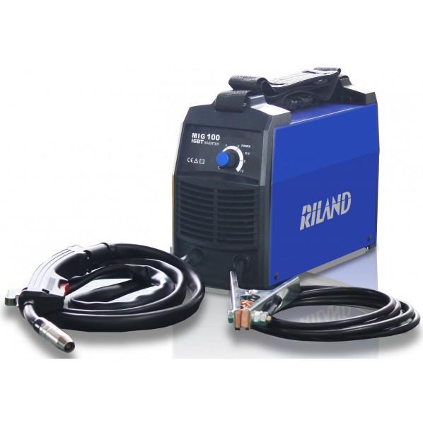RILAND JAPAN 100Vインバーター ノンガス半自動溶接機 ブルー&ブラック W130×H230×D320mm MIG100 1台