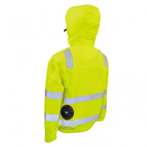 ブレイン 高視認性安全空調エアコン ジャケットのみ イエロー LLサイズ(胸囲132、着丈74、肩幅59、袖丈64cm) BR-12000YLL 1着