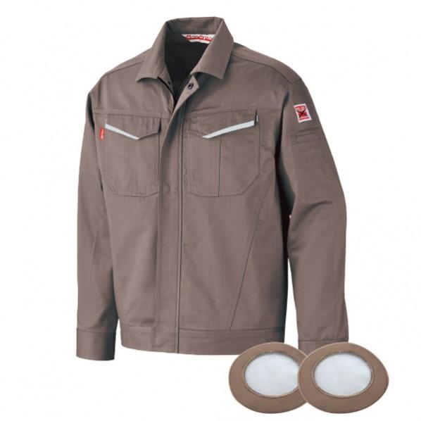 ブレイン 防炎空調エアコン服 グレー Lサイズ(胸囲124、着丈68、肩巾52、袖丈58cm) BR-2000GL 1着
