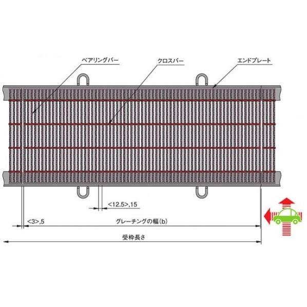 中部コーポレーション 横断溝・側溝用細目スチールグレーチング b997×a600×h32mm CXHB332-5 1個