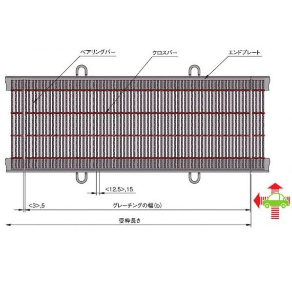 中部コーポレーション 横断溝・側溝用細目スチールグレーチング b(498+498)×w500×h50mm VG1HA750-4 1個