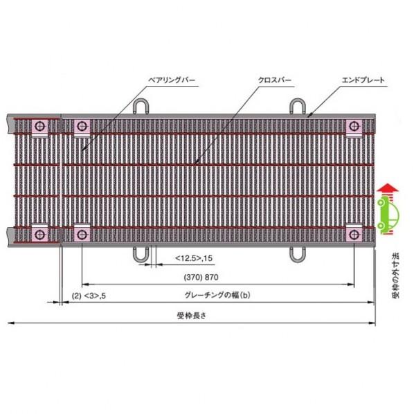 中部コーポレーション 騒音防止用 ボルト固定式細目スチールグレーチング b(498+498)×a600×h50mm VG1HAB750-5A 1個