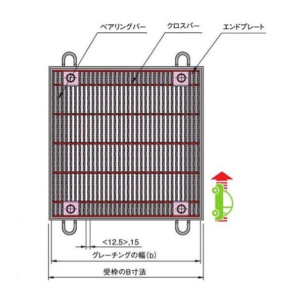 中部コーポレーション ボルト固定式 細目正方形桝用スチールグレーチング b456×a450×h38mm CXHBBF338-350B 1個