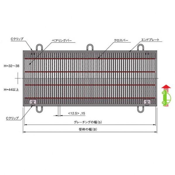 中部コーポレーション Cクリップ付騒音防止用スチールグレーチング b997×a350×h32mm CXHBC332-2.5 1個