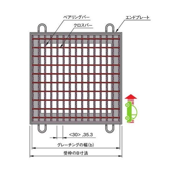 中部コーポレーション 落とし込式 正方形桝用スチールグレーチング b995×a1000×h90mm VG5BF90-99 1個