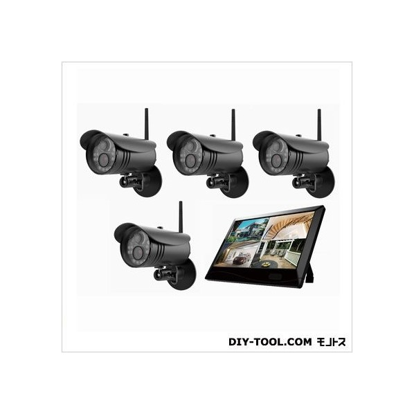 マザーツール 高解像度ワイヤレスセキュリティカメラシステム/カメラ4台セット W255xH173x D38mm MT-WCM300-4 1セット