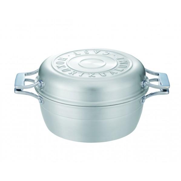 北陸アルミニウム HAMON(両手鍋) しろがね 幅30×奥行23×高さ12.8cm A-2033 1個