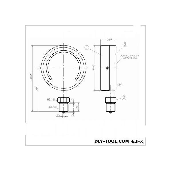 第一計器製作所 IPT一般圧力計 AS1/2-100:50MPA 1個