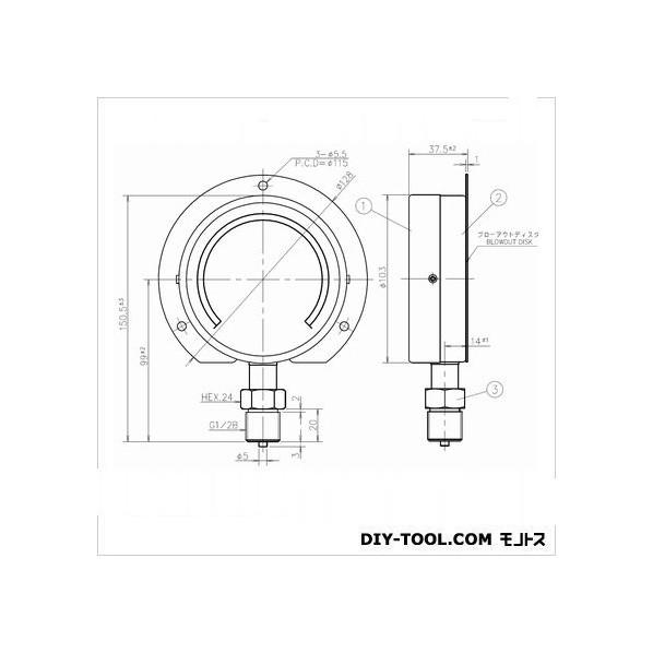 第一計器製作所 IPT一般圧力計 BS1/2-100:25MPA 1個