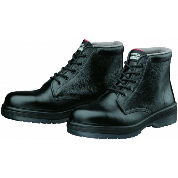 ドンケルコマンド ラバー2層底安全靴(ヒモ)耐滑 ミドルカット ブラック 26.5cm R2-03 1足