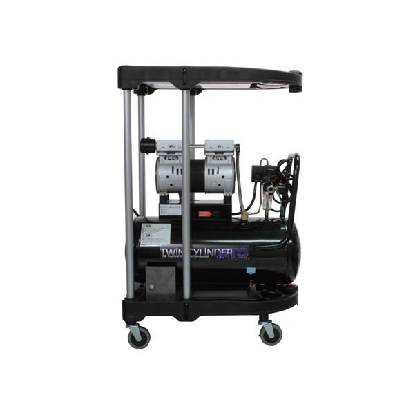 ムサシトレイディングオフィス 静音オイルレスコンプレッサー 30L &カート 上面600×375×40mm 高さ925mm DZW030BK-WA 1台
