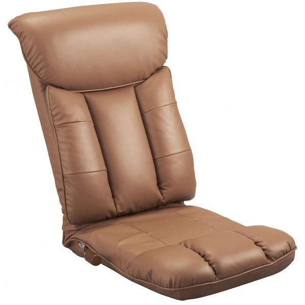 彩 スーパーソフトレザー座椅子(薄型日本製座椅子) ブラウン YS-1310 1個