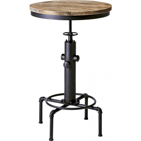 INDUSTRIAL(インダストリアル) 高さ昇降付き配水管フレームバーテーブル ブラック KNT-A801 1個
