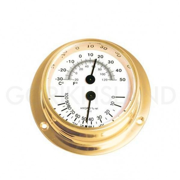 ゴーリキアイランド 温湿度計 S 金色 幅103×高さ103×奥行41mm 710214 1個