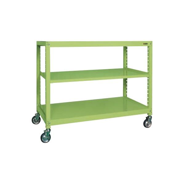 サカエ キャスターラックRK型(ゴム車) カラー:グリーン 寸法(間口W×奥行D×高さH)(mm):1500×450×1620 RKCN-5453 1台 0