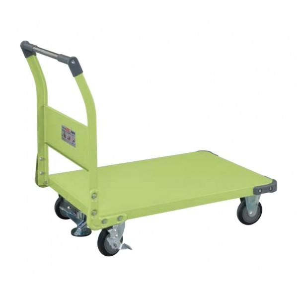 サカエ 特製四輪車(固定ハンドルタイプ・フロアストッパー付) カラー:サカエグリーン 外寸(間口W×奥行D×高さH)():955×630×876 TAN-55NUF 1台 0