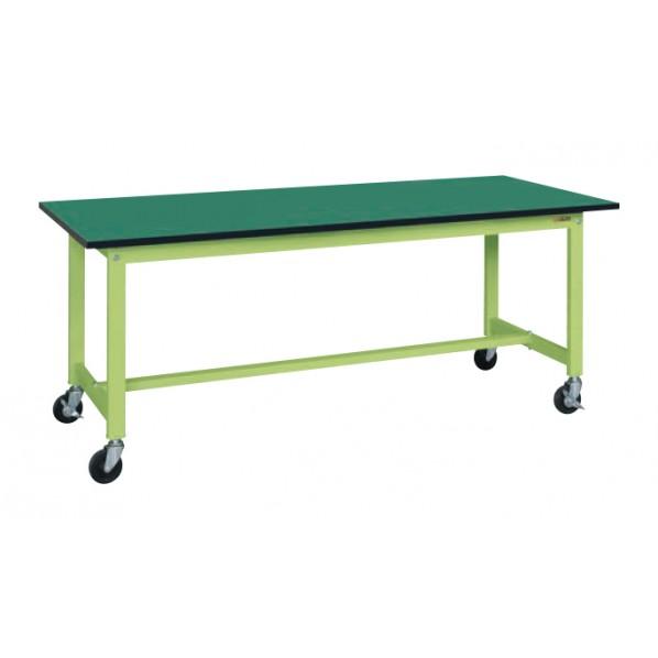 サカエ 軽量作業台KSタイプ移動式(改正RoHS10物質対応) カラー:グリーン/天板カラー:グリーン 外寸(間口W×奥行D×高さH)(mm):1800×600×740 KS-186FER 1台 0